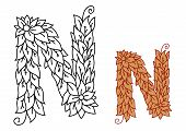 Alphabet letter N in organic leaves font