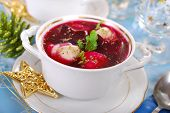 Red Borscht With Ravioli For Christmas