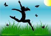 Menina de salto de silhueta