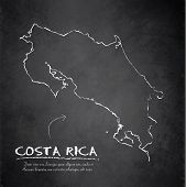 Costa Rica map blackboard chalkboard vector