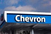 Chevron Gas Station Canopy And Sign