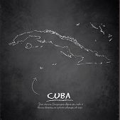 Cuba map blackboard chalkboard vector