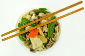 picture of gai  - Moo Goo Gai Pan in a bowl with chop sticks - JPG