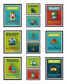 Travel Poster Banner Design Flat Background Set, Eps10