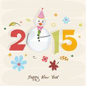 Happy New Year 2015 stylish text with snowman on flower decorated beige background, can be use us poster, banner or flyer.