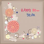 Beautiful floral decorated design on brown background, greeting card for Happy New Year celebrations.