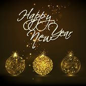 Poster, banner or flyer of Happy New Year with stylish text and golden Christmas balls on shiny dark brown background.