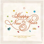Stylish text on abstract background for Happy New Year celebrations, can be used as poster, banner or flyer.