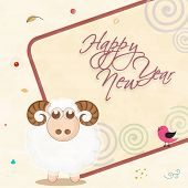 Greeting card design with sheep and text on stylish background for Happy New Year celebrations.