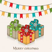 Merry Christmas celebration concept with colorful gift boxes and party flags on beige background, can be used as poster, banner or flyer.
