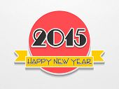 Happy New Year celebration sticker or label design with stylish text on grey background.
