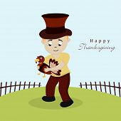 Cute little boy in pilgrim hat holding a cute turkey bird on nature background for Happy Thanksgiving Day celebrations.