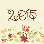 Stylish text 2015 on floral decorated beige background for Happy New Year celebrations, can be used as poster, banner or flyer.