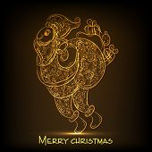 Merry Christmas celebration concept with shiny golden sketch of floral decorated Santa Claus holding gift sack on brown background.
