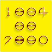 Shinning Circle Digit Style On Yellow Background.