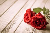 Red roses for holiday on the vintage wooden background.Toned image