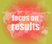 Life Style Concept: Words Focus On Results On Digital Touch Screen