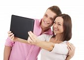 Attractive Young Couple Taking A Selfie Together - Stock Image