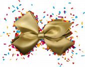 Golden gift bow over colorful confetti. Vector illustration.