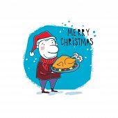 New Year card Christmas elf. Vector illustration