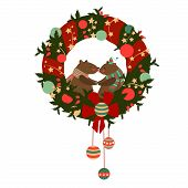 Christmas wreath with bears