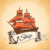 picture of tall ship  - Sailing tall ship wooden vintage clipper with red sails nautical emblem with ribbon and rope vector illustration - JPG