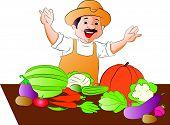 Vector Of Happy Vegetable Seller.