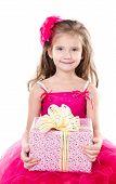 Happy Adorable Little Girl With Christmas Gift Box
