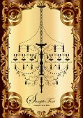 Vintage Invitation Card With Ornate Design And Chandelier