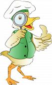 Duck Looking Through A Magnifying Glass, Illustration