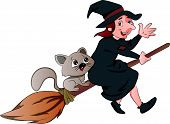 Vector Of Witch And Cat Riding On A Broomstick.