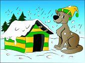 Dog In Winter, Illustration