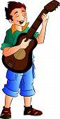 Male Singer And Guitarist, Illustration