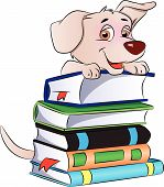 picture of clever  - Vector illustration of a clever and cute dog on stack of books - JPG