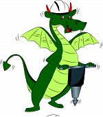 Vector Of Dragon Using A Power Jackhammer