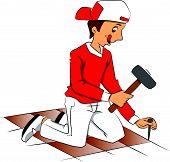 Vector Of Repairman Hammering Nail To Remove Tiled Floor