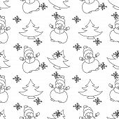 Snowman Christmas seamless pattern monochrome