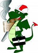 Vector Of Dragon Carrying Work Tools And Smoking Cigar.