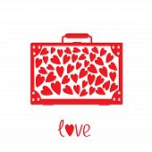 Big Red Suitcase With Hearts. Isolated.