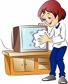 Vector Of Woman Wiping Dust On Television Set.