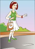 Vector Of A Woman Hitchhiking At Roadside.