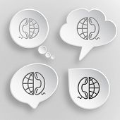 Globe and phone. White flat vector buttons on gray background.