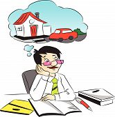Vector Of Businessman Dreaming While Working At Office.