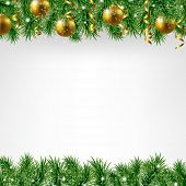Xmas Fir Tree Border With Colden Balls With Gradient Mesh, Vector Illustration