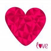 Big Pink Heart. Polygonal Effect. Love Card. Isolated.