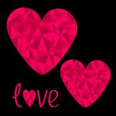 Two Pink Hearts. Polygonal Effect. Love Card. Black Background.