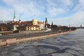 View of Riga with the frozen Daugava