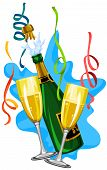 pic of pooper  - Celebration with white wine in glasses and bottle vector illustration - JPG