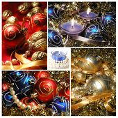Holiday Collage With Christmas Tree Decorations For Your Creative Design