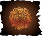 picture of mayan  - Ancient Mayan civilization calendar circular vector illustration - JPG